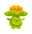 cute smiling cactus emoji with flowers on his head vector image vector image