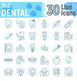 dental thin line icon set stomatology symbols vector image vector image