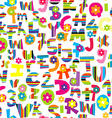 Doodle letters and numbers seamless vector image