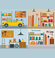 garage interior car banner concept set flat style vector image