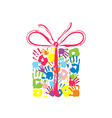gift box with bow handprints family vector image vector image