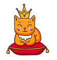 ginger cat with crown sitting on royal pillow vector image