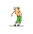 Golfer Swinging Club Cartoon vector image