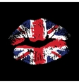 Great Britain flag lipstick on grunge lips vector image vector image