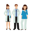 group of doctors in a hospital flat design vector image vector image