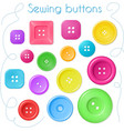 hand drawn set coloured sewing buttons - top vector image