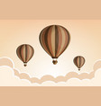 hot air balloon in the sky with clouds flat vector image