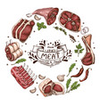 isolated meat circle vector image