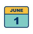 june 1st date on a single day calendar