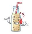 listening music healthy banana smoothie in cartoon vector image vector image