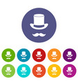 magic black hat and mustache set icons vector image vector image