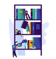 man studying literature at library book shelf vector image