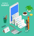 mobile survey flat isometric concept vector image vector image