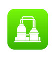 oil processing factory icon digital green vector image vector image