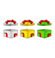 open gift box with ribbon bow and ray vector image vector image