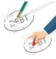 person erase word debt written on paper vector image