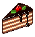 pixel piece cake isolated vector image