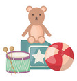 plastic balloon with teddy and toys square frame vector image vector image