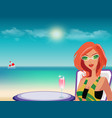 redheaded girl in sunglasses with cocktail on vector image