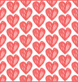 seamless retro pattern pink heart hand vector image vector image