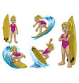set cartoon blonde white surfer girl vector image