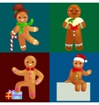 set christmas cookies gingerbread man decorated vector image