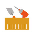 spatula and drill tools isolated icon vector image vector image