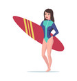 surfer girl is standing with a surfboard vector image