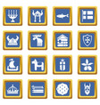 sweden travel icons set blue square vector image vector image