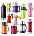 thermos vacuum flask or bottle with hot vector image vector image