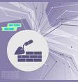 trowel building and brick wall icon on purple vector image