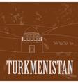 Turkmenistan landmarks Retro styled image vector image vector image