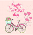 valentines day template with cute bike vector image