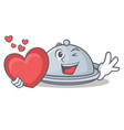 with heart tray character cartoon style vector image vector image