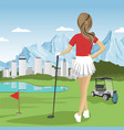 young golfer girl standing with a golf club vector image vector image