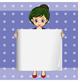 A girl holding an empty signage vector image vector image