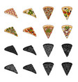 a slice of pizza with different ingredients vector image