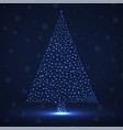 abstract neon christmas tree of glowing snowflakes vector image