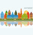 antwerp belgium city skyline with color buildings vector image vector image