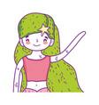 beautiful little girl character vector image