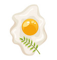 cartoon scrambled egg isolated with a sprig of vector image