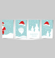 christmas card set merry christmas and santa claus vector image