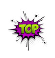 comic text top speech bubble pop art style vector image vector image