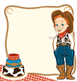 Cowboy child birthday background with cake