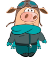 Cute Pig Aviator Cartoon vector image vector image
