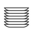 dishes plates simple food icon in trendy line vector image