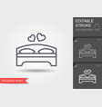 double bed and hearts line icon with shadow and vector image