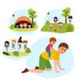 family summer camping flat vector image vector image
