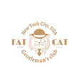 fat cat label vector image