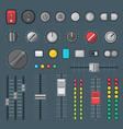 flat style various audio controls and indicators vector image vector image